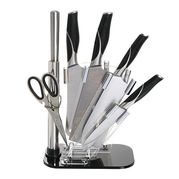 Набор ножей 6предметов(нож 4шт+ножницы+точилка) на подставке HJDJ-A001 купить оптом и в розницу