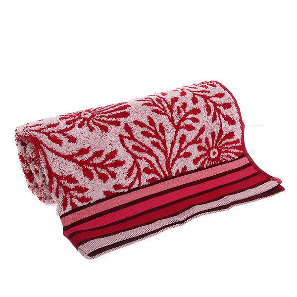 Махровое полотенце 70*140см ванильно-вишневое пестротканное пляжное ЖК140-4-114-098 купить оптом и в розницу