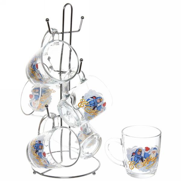 Набор кружек 6шт 350мл ″Дед Мороз″ на металлической стойке D55531/06 купить оптом и в розницу