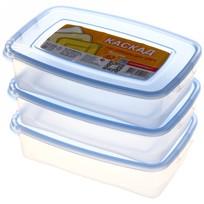 Набор контейнеров 3 шт ″Каскад″ 0,7л прямоугольный *18 купить оптом и в розницу