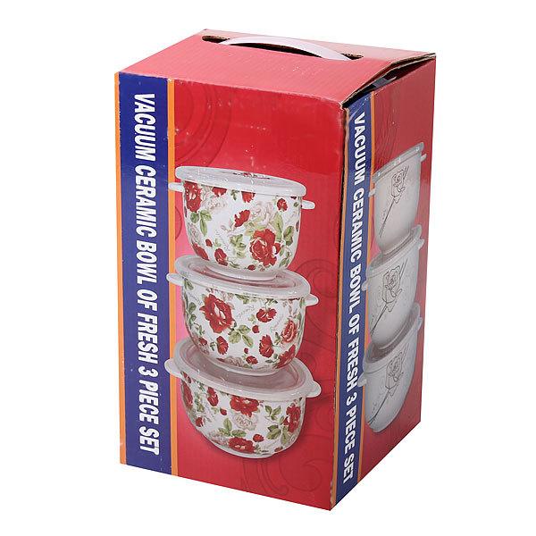Набор салатников керамических 3шт с крышками ″Розы″ купить оптом и в розницу