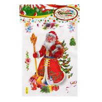 Наклейка декоративная 3D Новогодний праздник″Дед Мороз с елочкой″ 28*18см RXY 014 купить оптом и в розницу