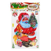 Наклейка декоративная 3D Новогодний праздник″Дед Мороз с олененком″ 28*18см RXY 011 купить оптом и в розницу