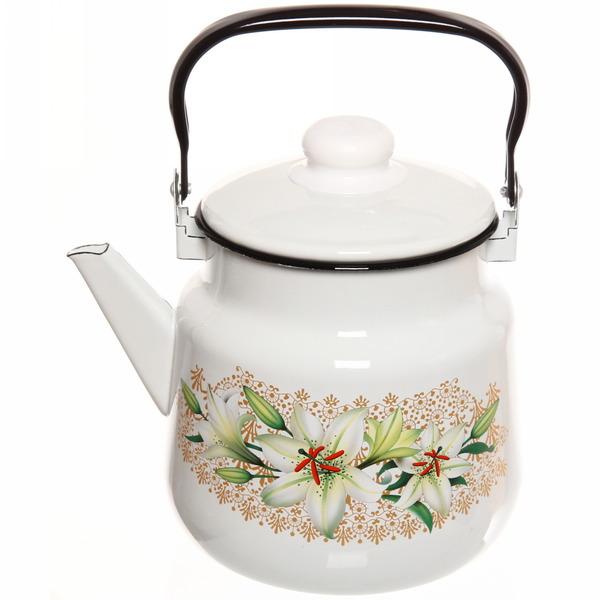 Чайник эмалированный 3,5л с рисунком белый купить оптом и в розницу