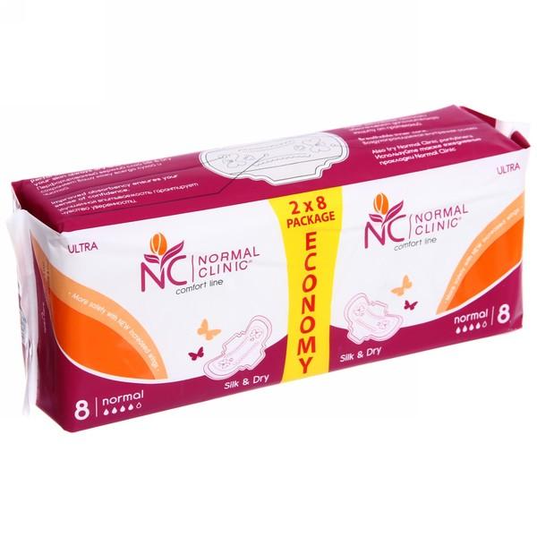Прокладки женские ультратонкие NORMAL cliniс ″COMFORT″ - silk & dry - 4 капли, 260 мм, 16шт купить оптом и в розницу