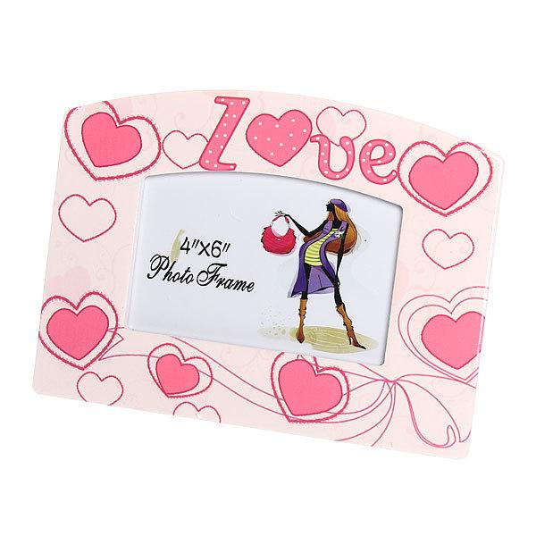 Фоторамка из керамики ″Розовые сердечки″ волна 10*15 см купить оптом и в розницу