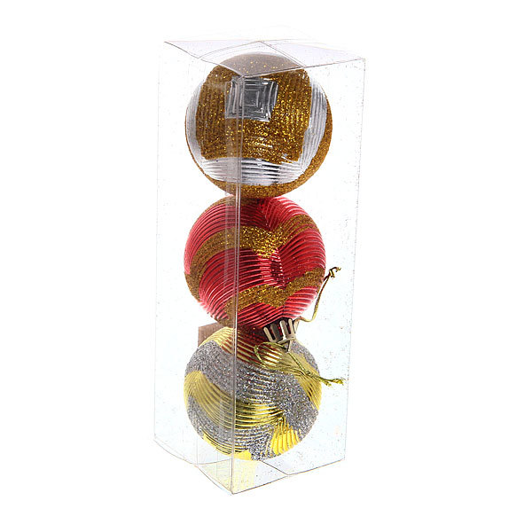 Новогодние шары ″Занавес″ 6см (набор 3шт.) купить оптом и в розницу