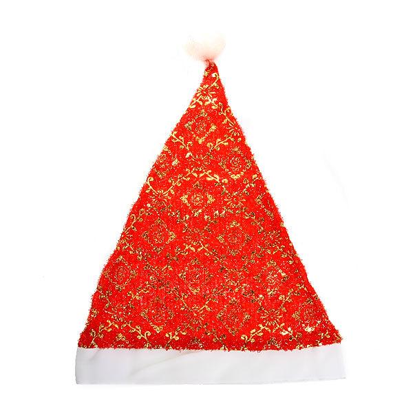 Колпак новогодний, красный ″Узоры зимы″ 28*38см купить оптом и в розницу