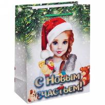 Пакет подарочный 18х23 см вертикальный ″С новым счастьем!″, Снегурочка купить оптом и в розницу