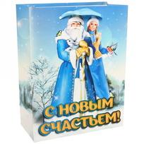 Пакет 18х23 см усиленный с блестками ″С Новым счастьем!″, Дед Мороз и Снегурочка, вертикальный купить оптом и в розницу