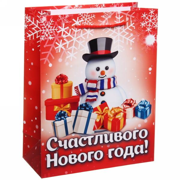 Пакет 18х23 см глянцевый ″Счастливого Нового года!″, Снеговичок, вертикальный купить оптом и в розницу