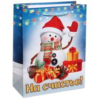 Пакет 18х23 см глянцевый ″На счастье!″, Снеговичок, вертикальный купить оптом и в розницу