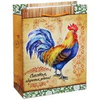 Пакет подарочный 18х23 см вертикальный ″Счастья, здоровья, удачи!″, Живописный петушок купить оптом и в розницу