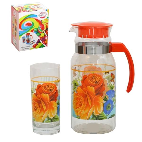 Набор питьевой 3 предмета: Кувшин 1,2л, 2 стакана 280мл ″Цветы″ купить оптом и в розницу