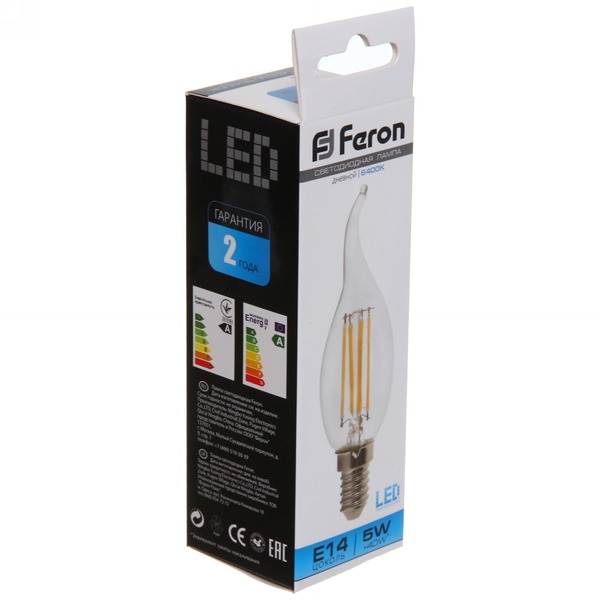 Лампа светодиод.филамент СВЕЧА на ветру 5Вт E14 6400K дневной LB-59 Feron купить оптом и в розницу