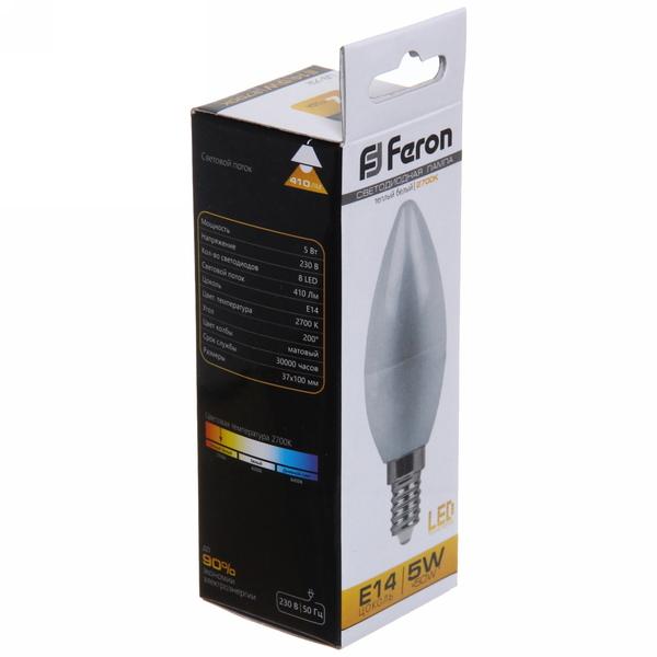 Лампа светодиод. СВЕЧА 4Вт E14 2700K LB-72 Feron купить оптом и в розницу