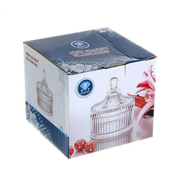 Сахарница стеклянная 250 мл ″Ажур″ Императрица, оранжевая купить оптом и в розницу