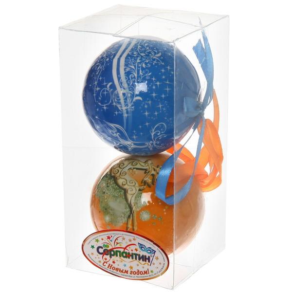 Новогодние шары ″Новогодний олень″ 8см (набор 2шт.) купить оптом и в розницу