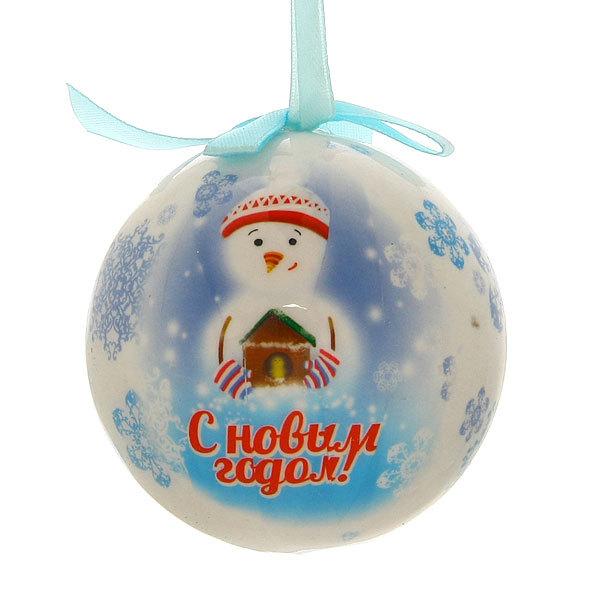 Новогодний шар ″Снеговик: С Новым Годом″ 8см купить оптом и в розницу