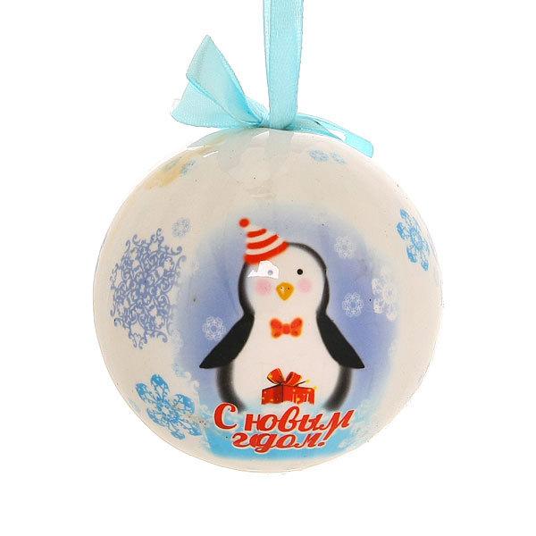 Новогодний шар ″Пингвин: С Новым Годом″ 8см купить оптом и в розницу