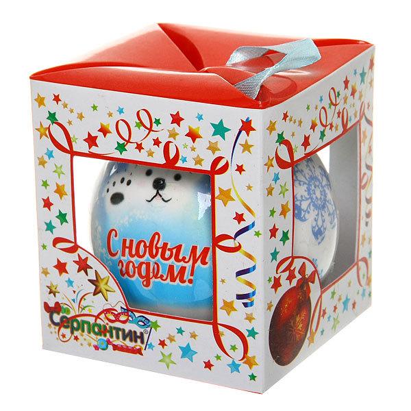 Новогодний шар ″Мишка: С Новым Годом″ 8см купить оптом и в розницу