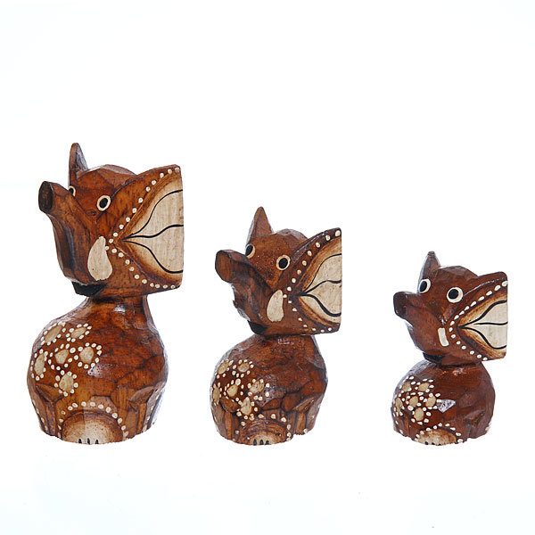 Фигурки из дерева ″Слоники 3шт″, 10,15,20см купить оптом и в розницу