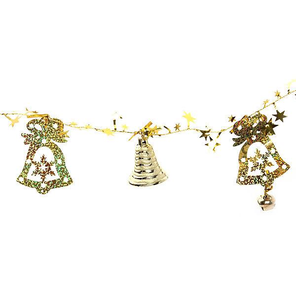 Бусы на ёлку золото 1,5м ″Колокольчики и звездочки″ купить оптом и в розницу