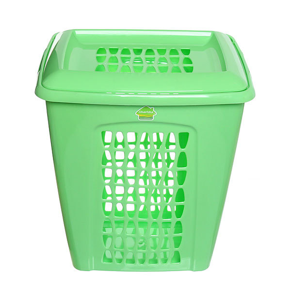 Корзина для белья ″Молетта″ прямоугольная 45л с крышкой зеленая купить оптом и в розницу