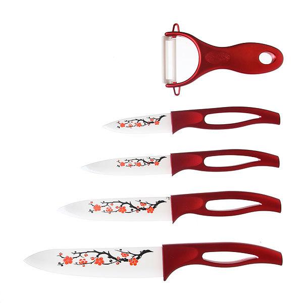 Набор ножей керамических 4шт+овощечистка на подставке красный купить оптом и в розницу