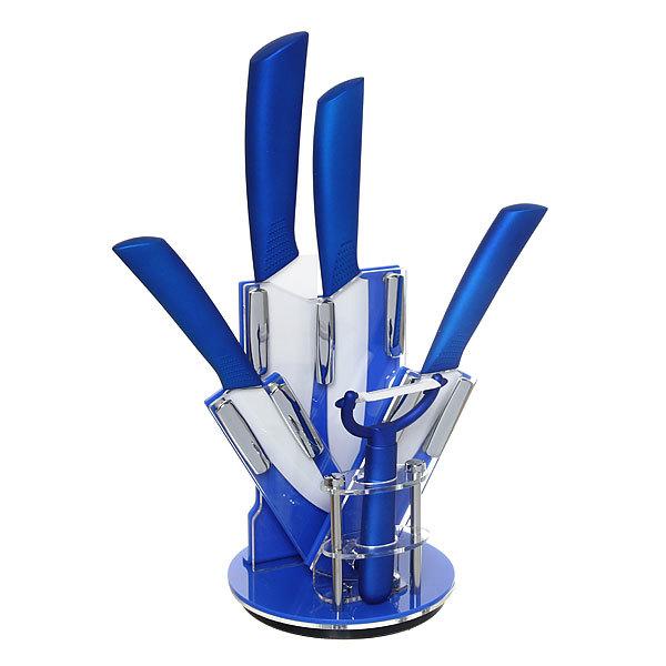 Набор ножей керамических 4шт+овощечистка на подставке HY-16 купить оптом и в розницу