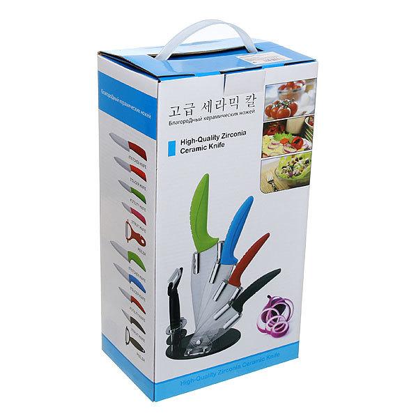 Набор ножей керамических 4шт+овощечистка на подставке цветные ручки купить оптом и в розницу