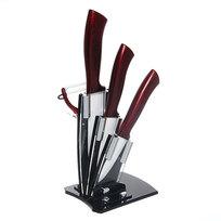 Набор ножей керамических 3шт+овощечистка на подставке бордовые ручки купить оптом и в розницу