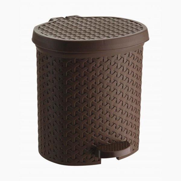 Контейнер педальный для мусора плетеный 6 л  (коричневый ) *6 245х230х260 купить оптом и в розницу