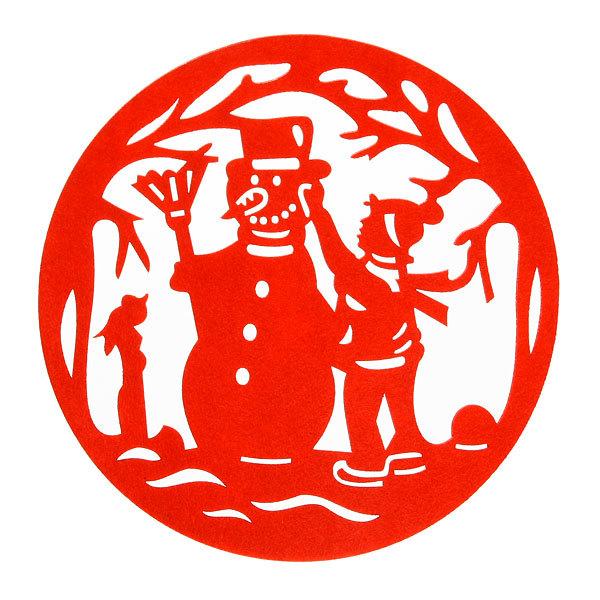 Салфетка на стол 31см ″Снеговик и мальчик″, фетр купить оптом и в розницу