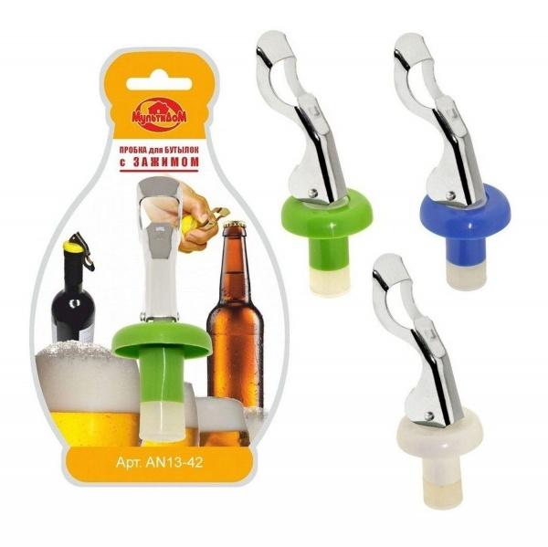 Пробка для бутылок с зажимом 3 цв.(1/12/144) купить оптом и в розницу