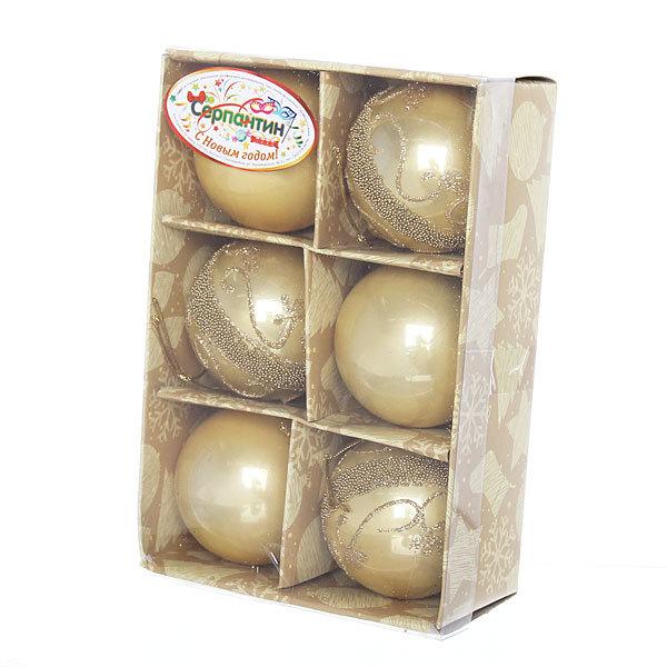 Новогодние шары ″Золотые узоры″ 6см (набор 6шт.) купить оптом и в розницу