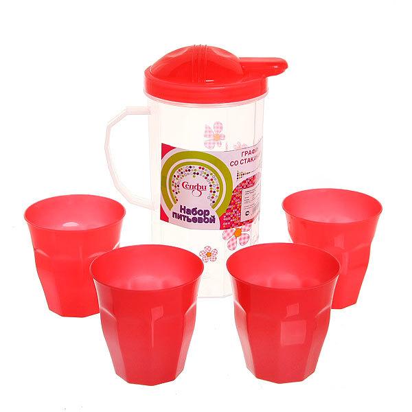 Набор питьевой 5 предметов ″Полянка″: кувшин 1л, 4 стакана 3389 купить оптом и в розницу