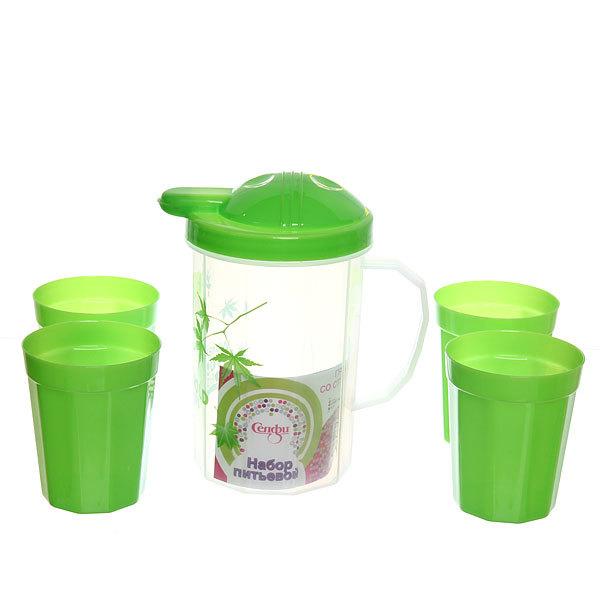 Набор питьевой 5 предметов ″Полянка″: кувшин 1л, 4 стакана (2) купить оптом и в розницу