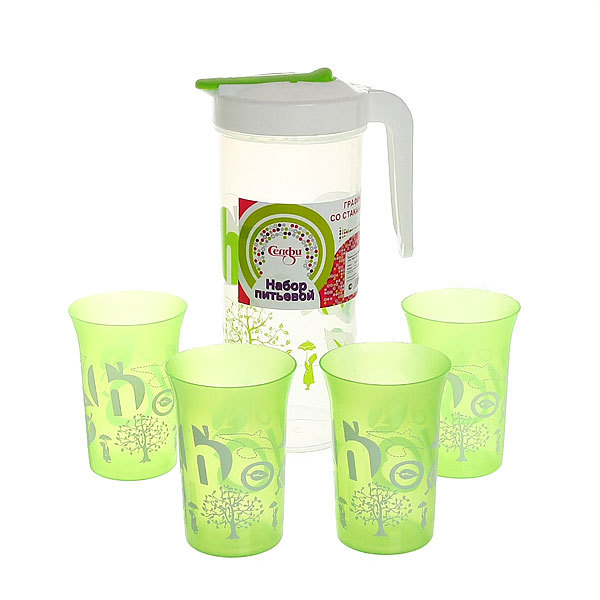 Набор питьевой 5 предметов ″Фрукты″: кувшин 1,5л, 4 стакана (1) купить оптом и в розницу