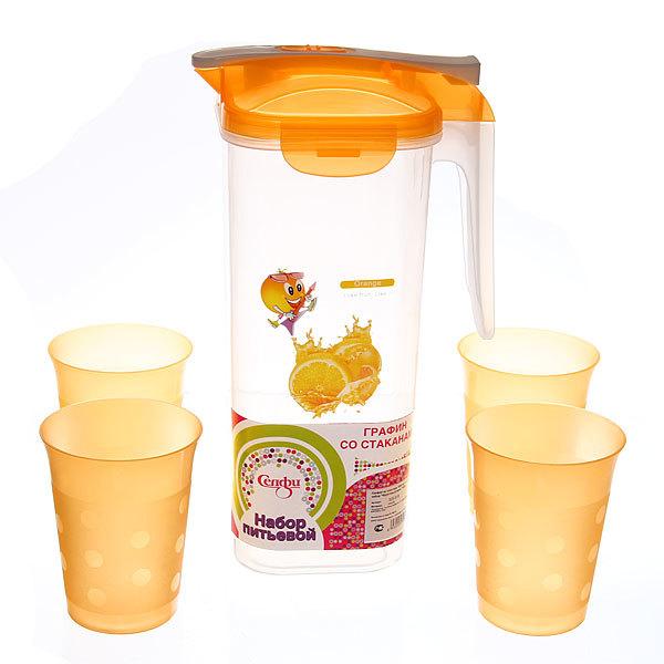Набор питьевой 5 предметов ″Фруктовый микс″: кувшин 1,8л, 4 стакана купить оптом и в розницу