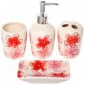 Набор для ванной из 4-х предметов керамический, красные цветы купить оптом и в розницу