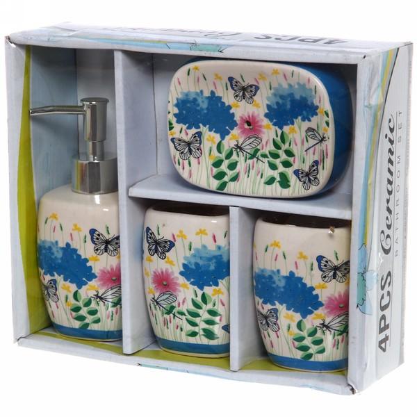 Набор для ванной из 4-х предметов керамический, васильки, бабочки купить оптом и в розницу