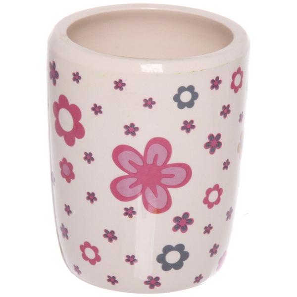 Набор для ванной из 4-х предметов керамический, белый с розовыми цветами купить оптом и в розницу