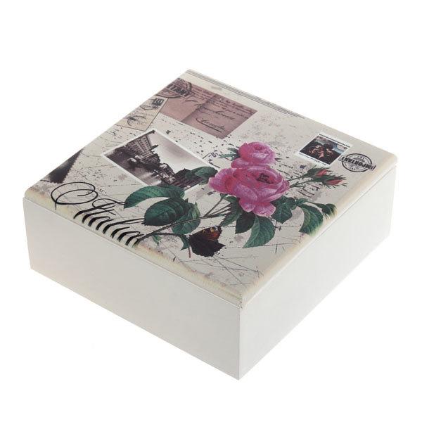 Коробочка для специй 4 отделения 18*18*7 см, дерево цветы купить оптом и в розницу