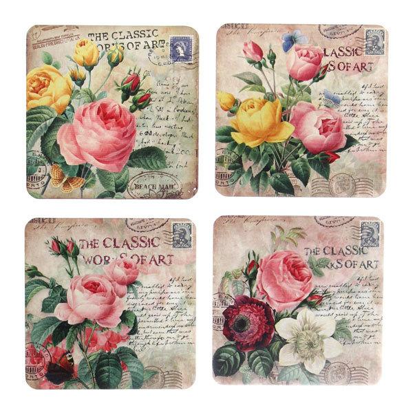 Подставка декоративная 9,5*9,5 см в наборе 4 шт Цветы купить оптом и в розницу