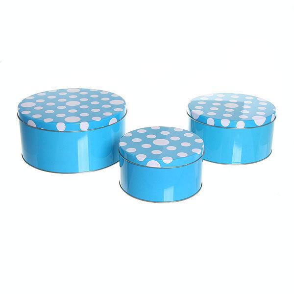 Набор банок для продуктов металлических 3 шт ″Горошек″ d-19.16.14 см купить оптом и в розницу
