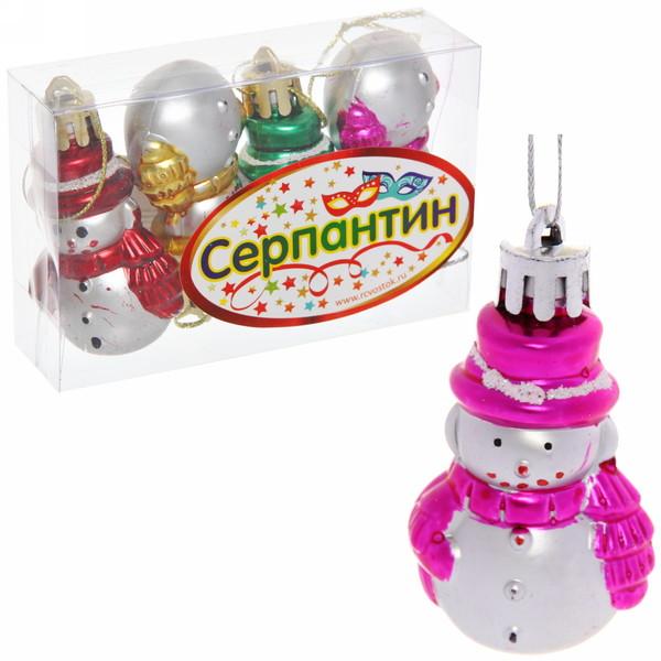 Ёлочные игрушки, набор 4шт, 6,5*3см ″Снеговичок цветной шарфик″ купить оптом и в розницу