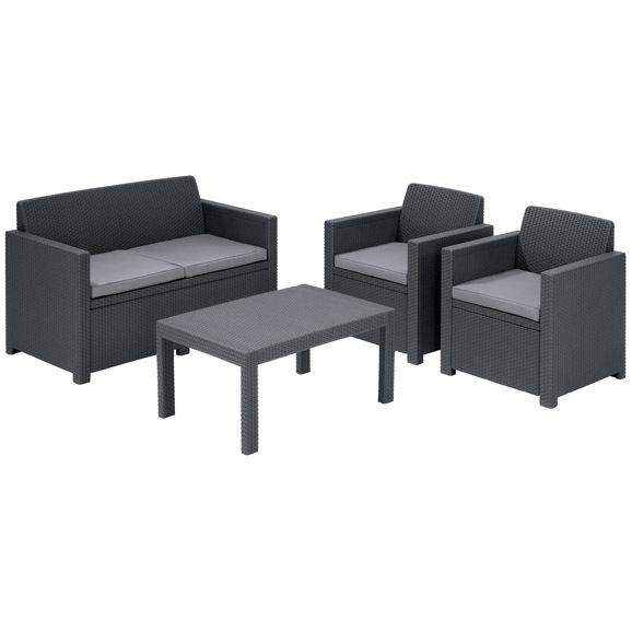 Набор мебели для сада MERANO 2 стула,диван,стол /антрацит без подушек купить оптом и в розницу