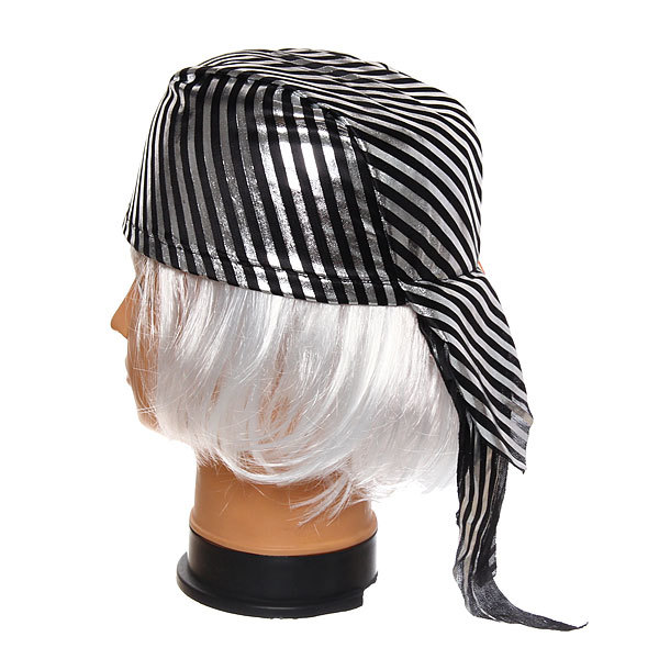 Шляпа-бандана карнавальная ″Пират″ серебрянная полоска купить оптом и в розницу