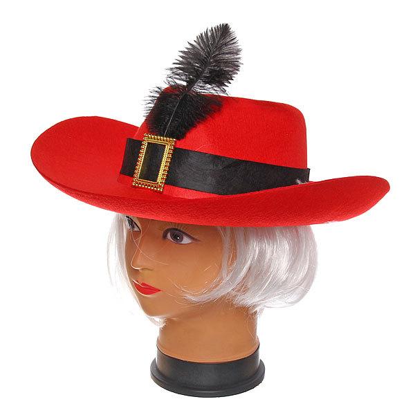 Шляпа карнавальная ″Мушкетер″ бордо с пером 1624-13 купить оптом и в розницу